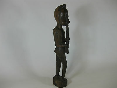 """Vintage African Carved Wooden Figure Playing Instrument 15"""" Tall"""