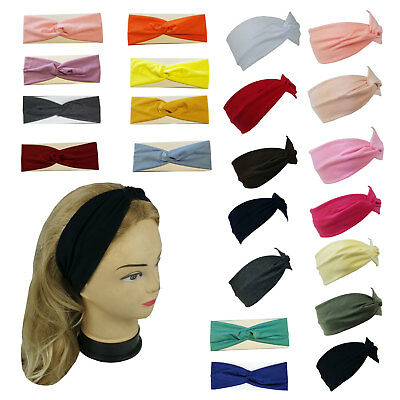 New Stretchable Turban Twist Yoga Hairband Headband Solid Colors Sports