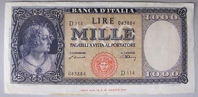 1947 Italy 1000 Lire Currency Note, VF+