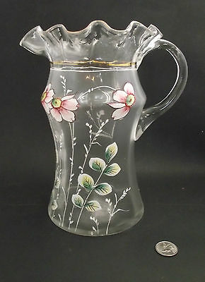 Large 9.5 Tall Lemonade Pitcher Jug W Frosted Glass Hand Enameled Flowers Blown