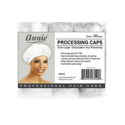 Annie Processing Caps Coloring Perm Shower Vinyl Extra Large 30CT Clear #3542