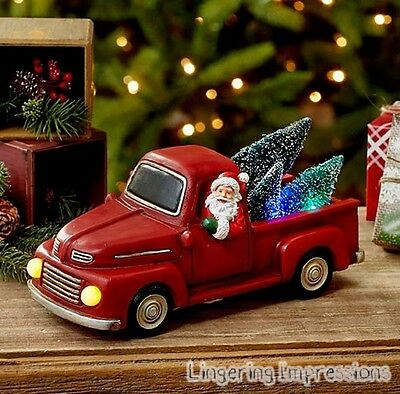 RED TRUCK W/ SANTA & TREES Color Changing Holiday Christmas Lighted Vehicle NEW