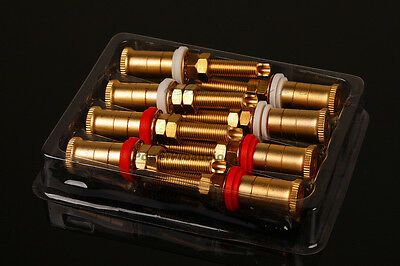 8PCS Gold Plated Copper Speaker Binding Posts Terminal Connectors WBT style