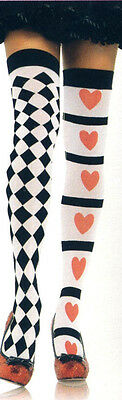 Leg Ave 6315 Thigh Highs Harlequin & Heart Opaque Stockings O/S Red White Black