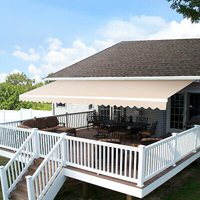 Mcombo 10x8 12x10 FT Retractable Patio Deck Awning Sunshade Shelter Outdoor