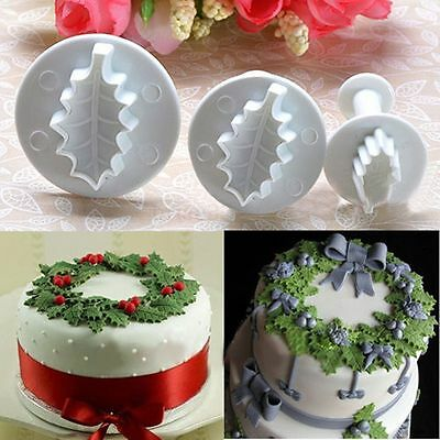 3Pcs Leaf Plunger Style Cake Pastry Cookies Sugarcraft Cutter Fondant Decorating