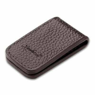 New Genuine Brown  Leather Magnetic Slim Pocket Money Clip Holder USA Seller