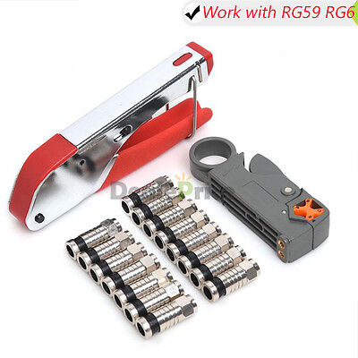 F100//UCS RG6 Compression Tool Kit for RG6 RG59 FConnectors with Cable Stripper