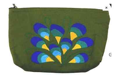 "PEACOCK Hand-Embroidered Zippered Pouch w/interior pocket / Cotton/ 5.75""x8.5"""