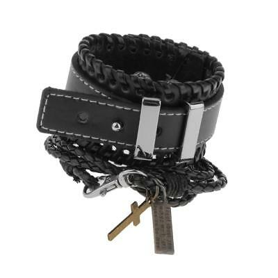 Fashion Braided Adjustable Leather Bracelet Punk Jewelry Cuff Men Gift