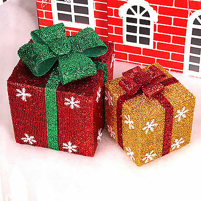 15/20/25cm Lighted Gift Boxes Presents Holiday Christmas Box Home Party Decor