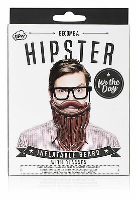 Hipster For The Day Inflatable Beard + Glasses Funny Gift Secret Santa