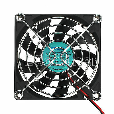 12V 2pin Computer PC Silent Cooling Fan 80mm x 80mm x 15mm Black Brushless Case