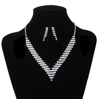 Diamante Crystal Wedding Bridal Formal Party Necklace Earrings Jewelry Set