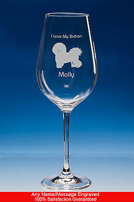 Bichon Frise Wine Glass Dog Gift Personalised Engraved Gift For Bichon Dog Lover
