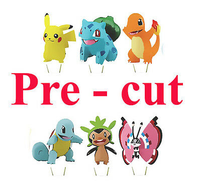 24 x POKEMON GO STAND UP Edible Rice/Wafer Cupcake CAKE toppers 01