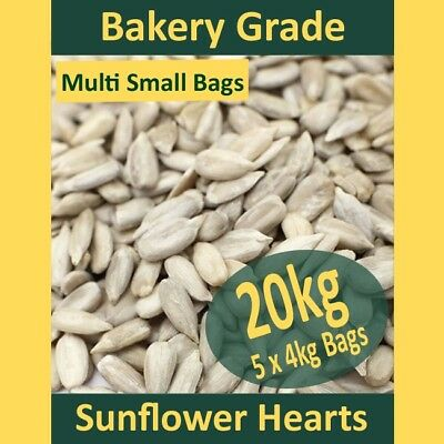 5x4kg (20kg) Sunflower Hearts Wild Bird Food PREMIUM BAKERY GRADE Dehulled