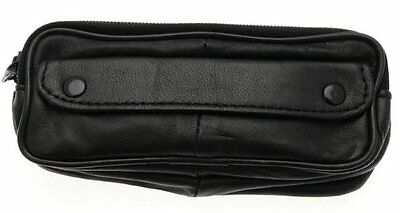 Soft Black Lambskin Leather Double Spectacle Case With Belt Loop