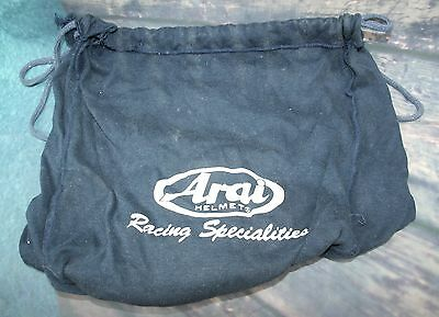 "Arai Helmet Cover,Drawstring with  ""Arai Helmet Racing Specialities"" in writing."