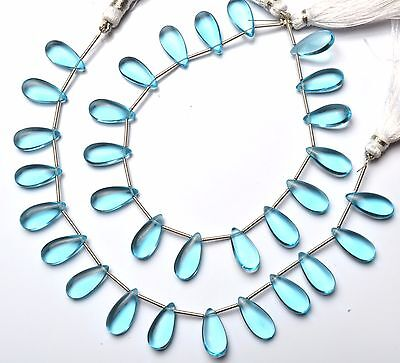 Sky Blue Topaz Color Hydro Quartz Smooth 7x15MM Pear Shape Briolettes 8""