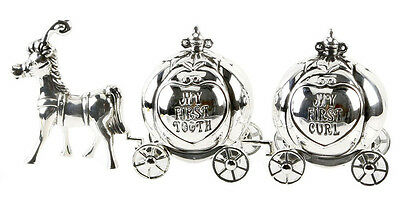 My First Tooth & Curl Cinderella Carriage Silver Plated Christening  Baby Girl