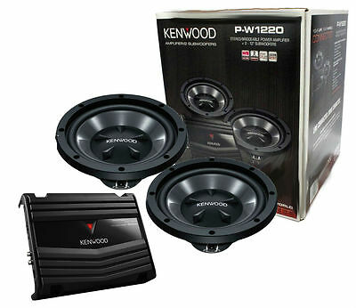 "Kenwood Kac1502S Amplifier With Two Kfc-W112S 12"" Subwoofers Package New Pw1210"