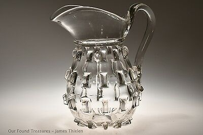 SCARCE c. 1850 - 1870 CLEAT prob. New England Glass FLINT CRYSTAL 2 QT Pitcher