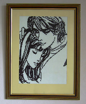 Two lovers - Finished framed completed Cross Stitch