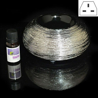 Silver Ceramic Electric Aroma Fragrance Diffuser Burner + Essential Scented Oil