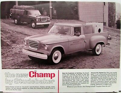 1960 1961 Studebaker Champ Truck Data Sheet 5E5 5E6 5E7 5E11 5E12 Models