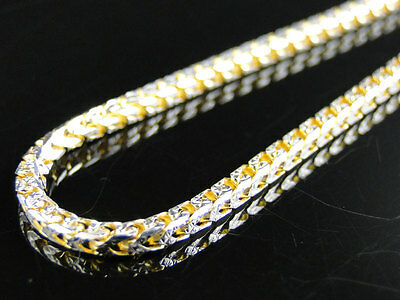 14k Yellow Gold Finish Solid Franco Chain Diamond Necklace Real Sterling Silver