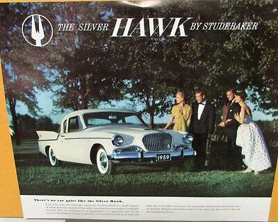 1959 Studebaker Silver Hawk  Color  Data Sheet Original
