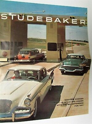 1957 Studebaker President Commander Champion Hawk Wagon Sales Folder Poster Orig