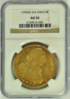 Chile 1799 SO DA 8 Escudos NGC AU 50