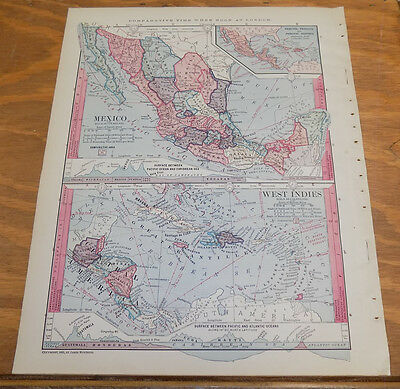 1885 Antique Map ///  MEXICO AND WEST INDIES