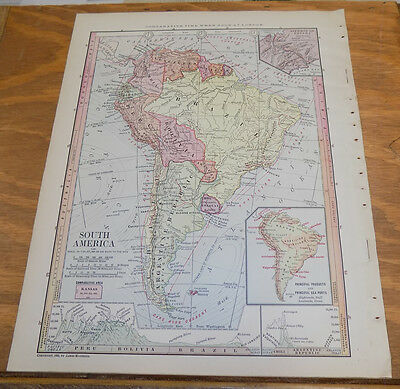 1885 Antique Map ///  SOUTH AMERICA
