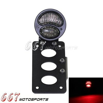 Motorcycle Tail Light With Side Mount License Plate Bracket Ford LED For Harley