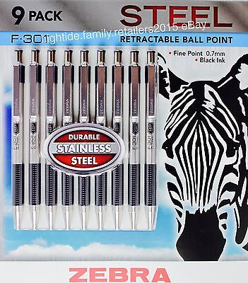 Zebra F-301 Steel Retractable Ball Point Pens Fine Point 0.7mm Black Ink, 9 Pack