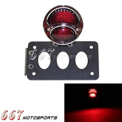 Motorcycle Side Mount License Plate Bracket Ford LED Tail light For Harley Hot
