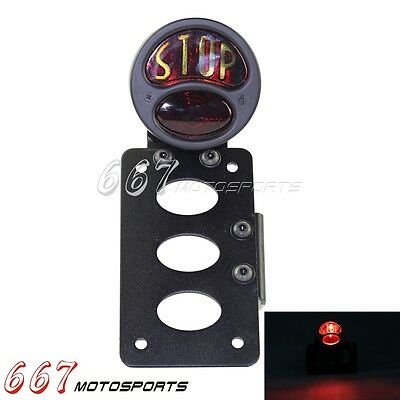 """""""Stop"""" Side Mount Motorcycle Tail Light License Plate Bracket For Cafe Racer Hot"""