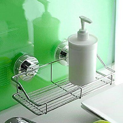 Stainless Steel Shower Storage Suction Cups Caddy Shelf Wall Mounted Bathroom