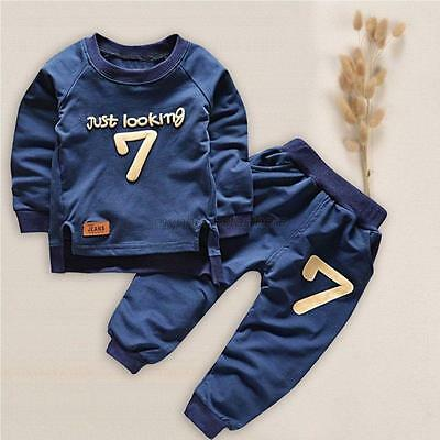 Baby Kids Boy Autumn Winter Pullover Tops+Long Pants Outfit Toddler Clothes Set