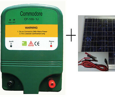 Electric Fence Solar Energiser 1J 10KM 12VDC / 10W Solar Panel with Batt. reg