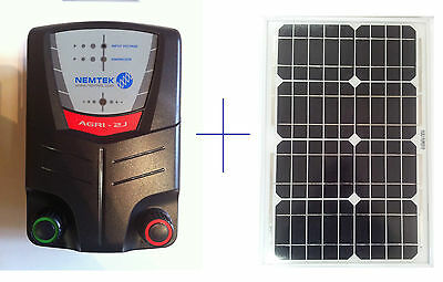 Nemtek Electric Fence Energiser 20km 2J with 20w Solar Panel Reg+ Remote control