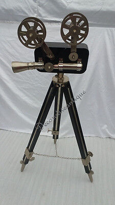 Antique Black Reproduction Floor Camera Projector on Black & Metal Tripod Stand