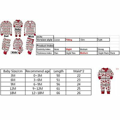 Christmas Kids Baby Adult Family Pajamas Set Sleepwear Nightwear Pyjamas Gift
