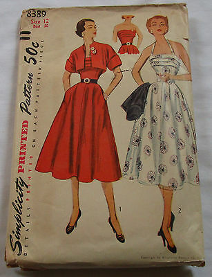Vintage Simplicity 1950's Pattern 8389 Misses' Dress and Bolero Size 12 Bust 30