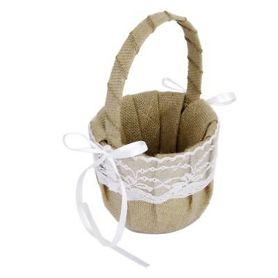 Burlap Hessian Lace Flower Girl Basket Rustic Country Vintage Wedding Prom