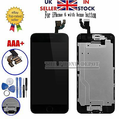 "iPhone 6 4.7"" Replacement Digitizer LCD Touch Screen & Home Button Camera Black"