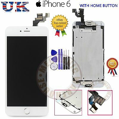 """iPhone 6 4.7"""" Replacement LCD Touch Screen Digitizer & Home Button Camera White"""